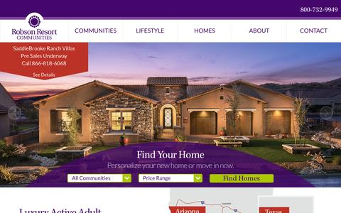 Screenshot of Home Page robson.com - Active Adult Luxury Retirement Communities – Robson Communities - captured Feb. 17, 2016
