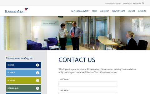 Screenshot of Contact Page harbourvest.com - Contact Us | HarbourVest - captured Oct. 26, 2016