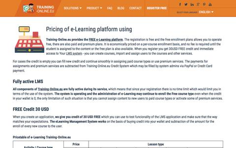 Screenshot of Pricing Page training-online.eu - e-Learning platform Training-Online.eu pricing - captured Oct. 27, 2017