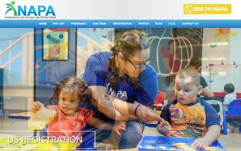 Screenshot of Home Page napacenter.org - Home | NAPA | Neurological and Physical Abilitation - captured Jan. 10, 2016