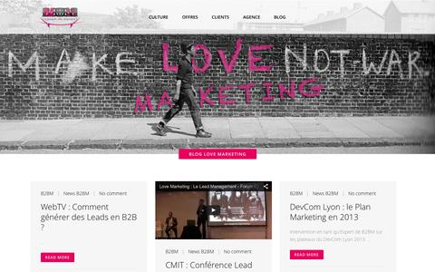Screenshot of Blog agence-marketing.com - Agence Marketing B2B digitale : B2BM |   Blog Love Marketing - captured Oct. 3, 2014