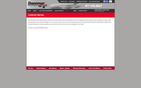 Screenshot of Services Page Support Page dannmar.com - Dannmar Customer Service - captured Oct. 23, 2014