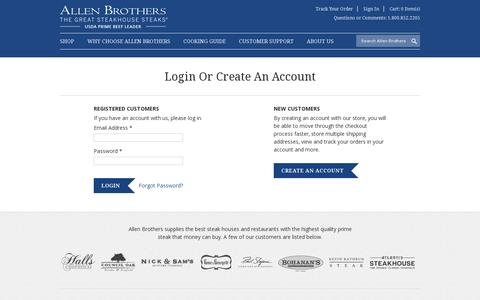Screenshot of Login Page allenbrothers.com - Customer Login - captured July 20, 2014