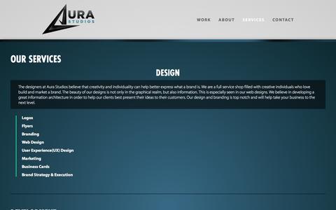 Screenshot of Services Page aurastudiosdc.com - Services   Aura Studios   Washington, DC   Design and Development - captured Feb. 6, 2016