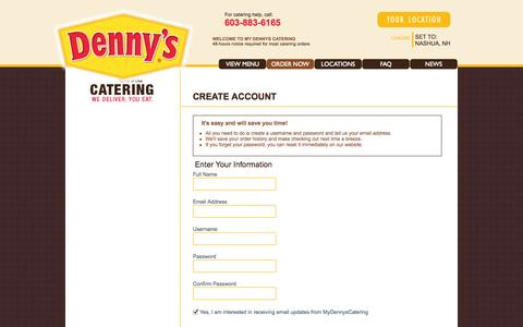 Screenshot of Signup Page mydennyscatering.com - Create Account   My Dennys Catering - captured Oct. 5, 2014