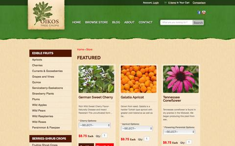Screenshot of Products Page oikostreecrops.com - Products - OIKOS Tree Crops - captured Feb. 29, 2016