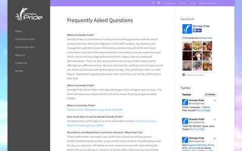 Screenshot of FAQ Page grimsbypride.co.uk - FAQ - captured Oct. 26, 2014
