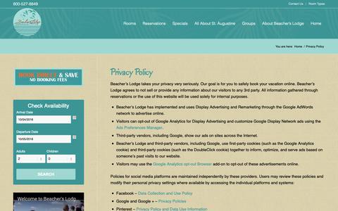 Screenshot of Privacy Page beacherslodge.com - Beacher's Lodge Privacy Policy | St. Augustine, FL Beachfront Hotels - captured Oct. 5, 2018