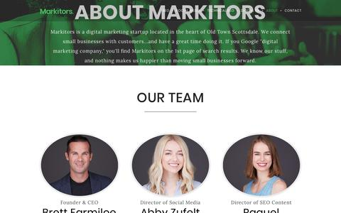 Screenshot of About Page markitors.com - About Us - Markitors - captured July 23, 2019
