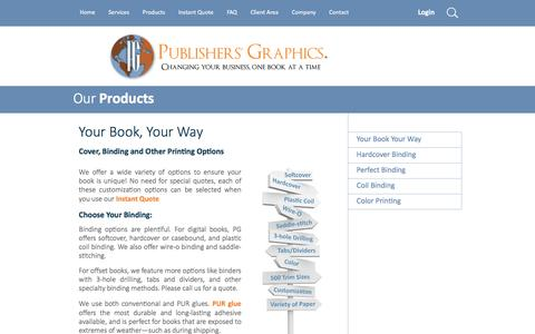 Screenshot of Products Page pubgraphics.com - Your Book, Your Way | Products | Publishers' Graphics - captured Feb. 2, 2016
