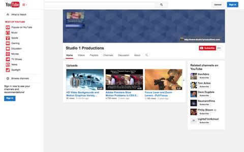 Screenshot of YouTube Page youtube.com - Studio 1 Productions  - YouTube - captured Oct. 22, 2014