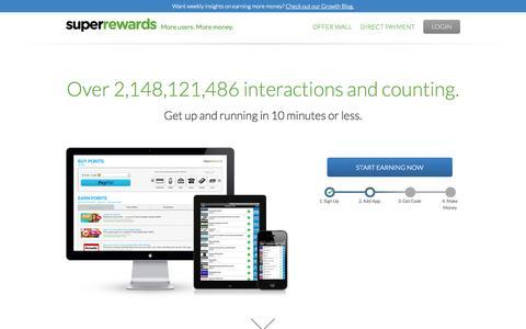 Screenshot of Home Page superrewards.com - SuperRewards | More users. More money. - captured Sept. 19, 2014