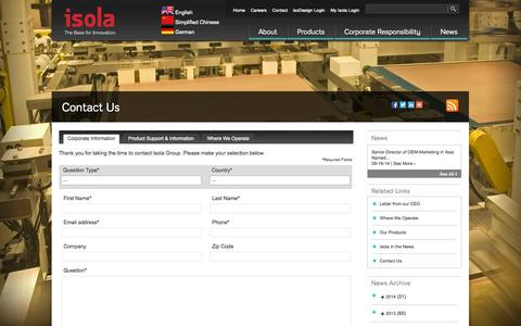 Screenshot of Contact Page isola-group.com - Isola Group |   Contact Us - captured Sept. 30, 2014