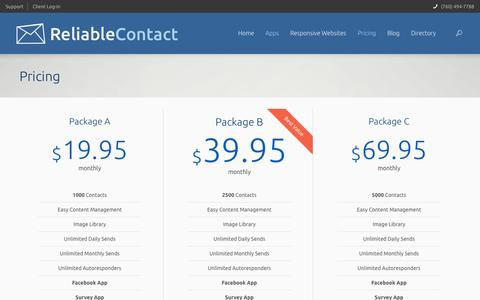 Screenshot of Pricing Page reliablecontact.com - Pricing   Reliable Contact - captured Oct. 7, 2014