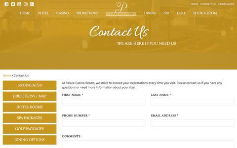 Screenshot of Contact Page palacecasinoresort.com - Contact Us Today | Palace Casino Resort | Biloxi, MS. - captured July 15, 2018