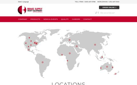 Screenshot of Locations Page brake.com - Locations | Brake Supply - Heavy Equipment Parts and Components - captured Jan. 31, 2019