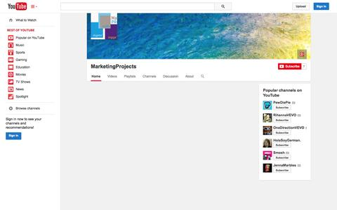 Screenshot of YouTube Page youtube.com - MarketingProjects  - YouTube - captured Oct. 29, 2014