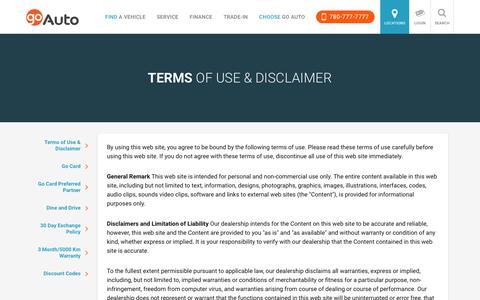 Terms of Use & Disclaimer | Go         Auto