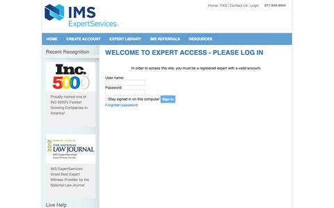 Screenshot of Login Page ims-expertservices.com - Log In - captured June 1, 2019