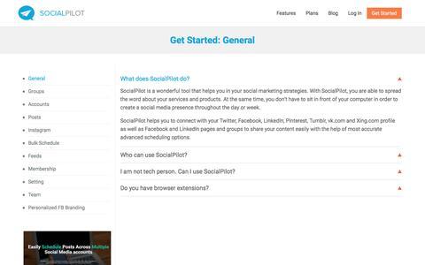 Screenshot of FAQ Page socialpilot.co - SocialPilot: Get Started - General - captured Aug. 16, 2016