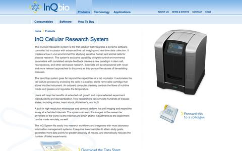 Screenshot of Products Page inqbio.com - InQ Biosciences – Live cell imaging – Lab incubator - captured Sept. 13, 2014