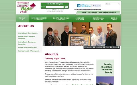 Screenshot of About Page indianacountyceo.com - Indiana County Center for Economic Operations - captured Oct. 6, 2014