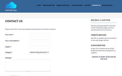 Screenshot of Contact Page netnebulis.com - Contact Us | Netnebulis: Responsive website design and cloud security solutions - captured July 5, 2017