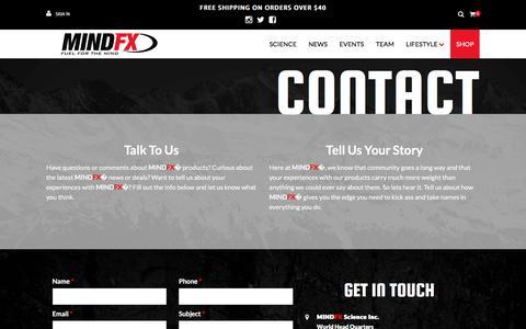 Screenshot of Contact Page mind-fx.com - Contact - captured Nov. 17, 2016