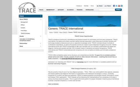 Screenshot of Jobs Page traceinternational.org - TRACE International - TRACE - About TRACE - Careers - captured Sept. 25, 2014