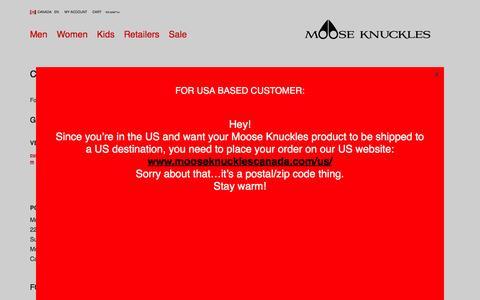 Screenshot of Contact Page mooseknucklescanada.com - Contact Us Informations | Moose Knuckles - captured Dec. 12, 2016