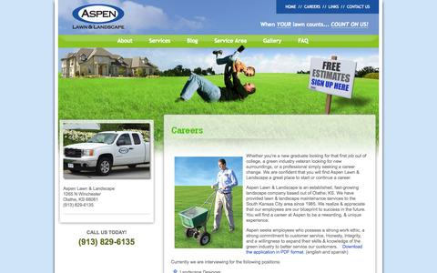 Screenshot of Jobs Page aspenlawn.com - Careers | Aspen Lawn and Landscape - captured Oct. 4, 2014