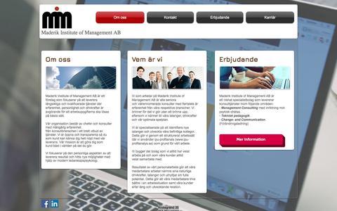 Screenshot of Home Page maderik.com - Förändringsledare, webbutvecklare, teknikinformatör, interimschef - captured Oct. 4, 2017