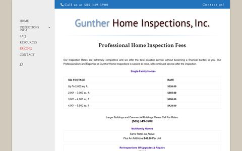 Screenshot of Pricing Page inspectny.com - Pricing | Gunther Home Inspections - captured Sept. 30, 2018