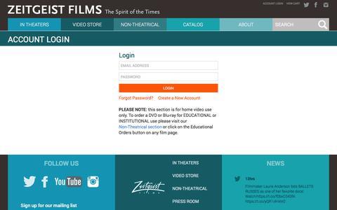Screenshot of Login Page zeitgeistfilms.com - Zeitgeist Films :: Account Login - captured Dec. 4, 2015