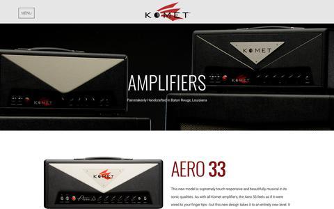 Screenshot of Products Page kometamps.com - Amplifiers | Komet Amplification - captured Feb. 18, 2018