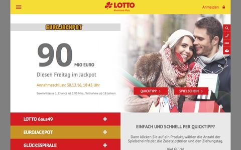 Screenshot of Home Page lotto-rlp.de - LOTTO Rheinland-Pfalz, Online LOTTO spielen - captured Dec. 24, 2016