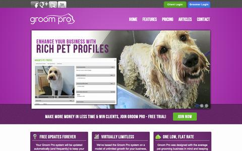 Screenshot of Home Page groom-pro.com - Groom Pro Pet Grooming Software, Grooming Business Software FREE TRIAL - captured Sept. 30, 2014