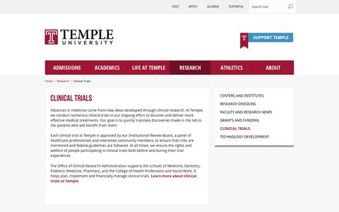 Clinical Trials | Temple University