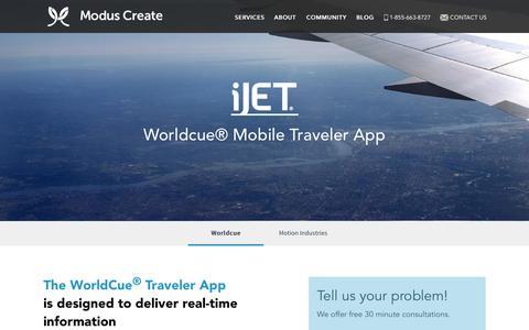 Screenshot of Case Studies Page moduscreate.com - Worldcue - Modus Create - captured Nov. 21, 2015