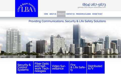 Screenshot of Products Page lord-bayer-associates.com - Security Equipment in Bon Air, VA | Communications Equipment | LORD & Bayer Associates - captured Jan. 23, 2016