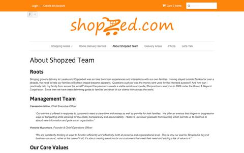 Screenshot of About Page shopzed.com - About Shopzed Team - captured Feb. 2, 2016