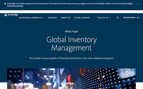 Screenshot of Landing Page broadridge.com - Global Inventory Management Whitepaper | Broadridge - captured March 27, 2018