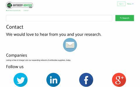 Screenshot of Contact Page antibody-adviser.org - Contact | Antibody-Adviser.org - captured Oct. 8, 2017
