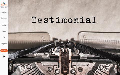 Screenshot of Testimonials Page bajajelectricals.com - Testimonials | Bajaj Electricals - captured Nov. 8, 2018