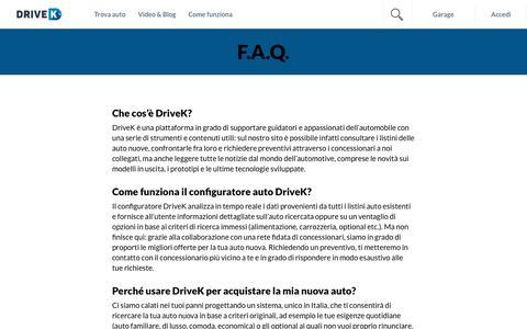 Screenshot of FAQ Page drivek.it - F.A.Q. Drivek.it - Le risposte alle domande di chi cerca auto - captured July 19, 2018
