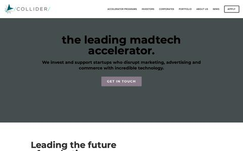 Screenshot of Home Page collider.io - Collider Accelerator — The leading Madtech accelerator - captured Nov. 5, 2018