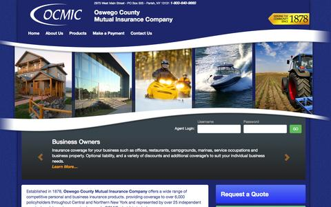 Screenshot of Home Page ocmic.com - OCMIC | Affordable Homeowner Insurance | Insurance Agents - captured Oct. 7, 2014