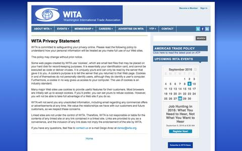 Screenshot of Privacy Page wita.org - WITA Privacy Statement   Washington International Trade Association (WITA) - captured Aug. 14, 2016