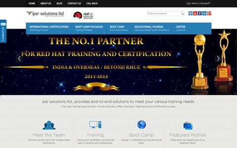Screenshot of Home Page ipsrglobal.com - Red Hat Linux Training, CISCO Training, Certifications - Boot camps in India | IPSR - captured Sept. 20, 2015
