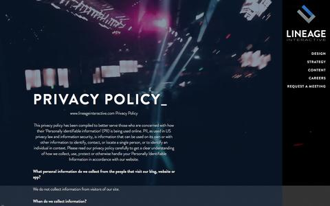 Screenshot of Privacy Page lineageinteractive.com - Privacy Policy - Lineage Interactive - captured Dec. 10, 2015